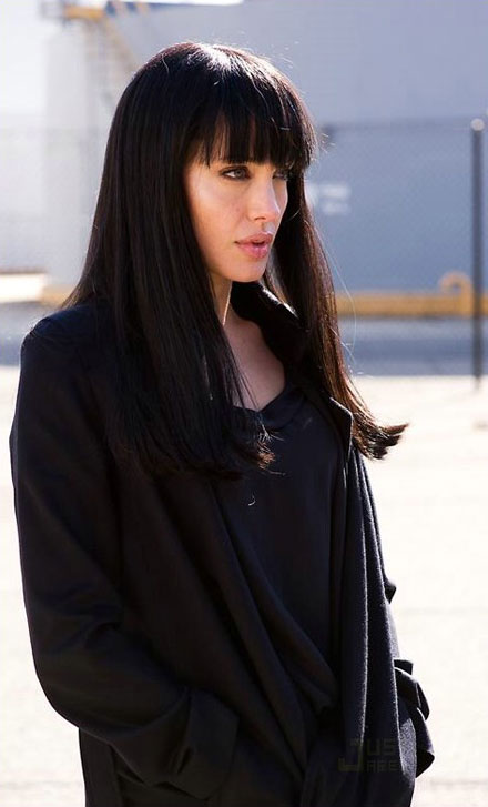 Angelina Jolie dons a black wig for the new movie, Salt
