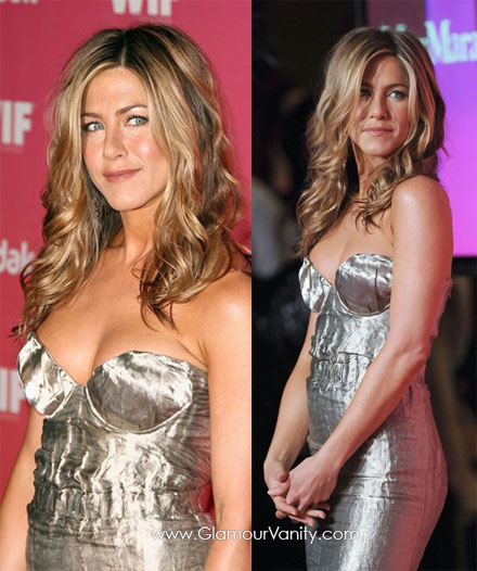 Jennifer Aniston looked sexy in a silver Prada dress at 2009 Women in Film Awards