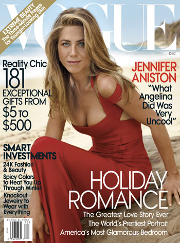 Jennifer Aniston on Vogue Magazine December 2008 cover