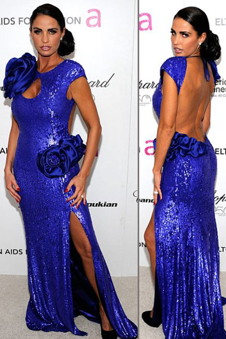 Katie Price dons an ugly blue dress for Elton John 2010 Oscar party