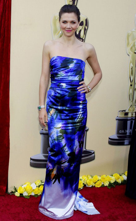 Maggie Gyllenhaal in a floral printed dress at 2010 Oscars