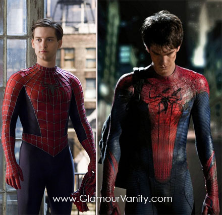 Andrew Garfield and Tobey McGuire as Spiderman