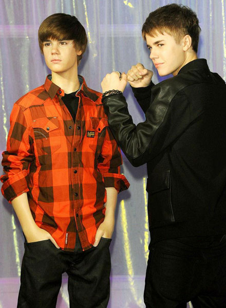Justin Bieber's wax figure at Madame Tussauds London and Amsterdam