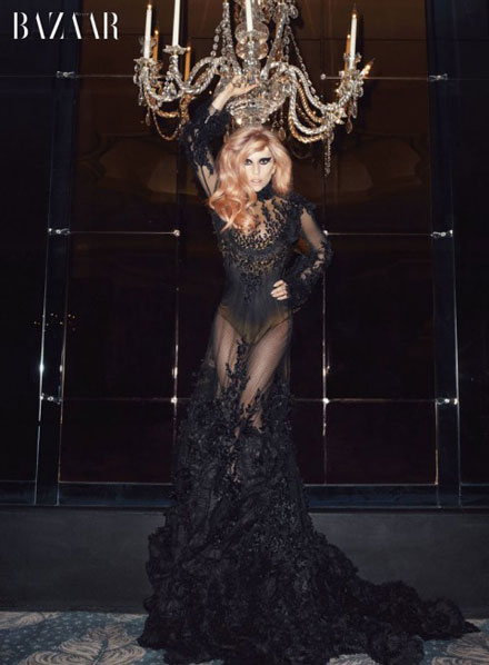 Lady GaGa is a lace dress beautiful in Harper's Bazaar May 2011