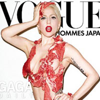 Lady GaGa is wearing meet on Vogue cover, enrages PETA