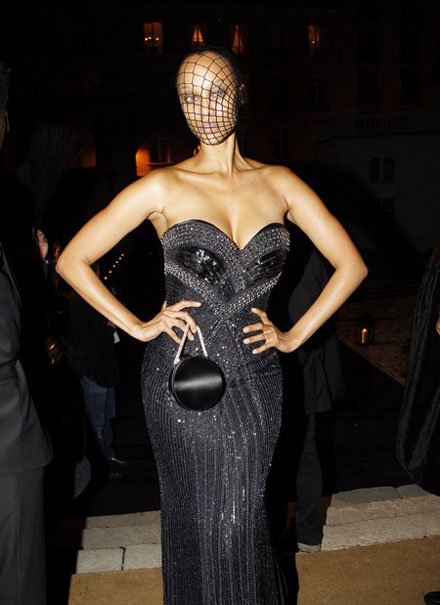 Tyra Banks' fishnet mask for French Vogue's 90th Anniversary Masquerade Party
