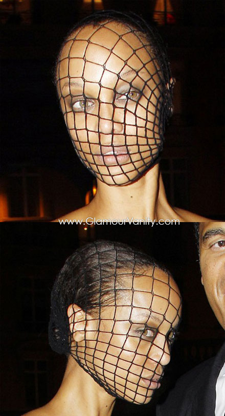 Tyra Banks wears fishnet stocking mask to French Vogue's 90th Anniversary Masquerade Party
