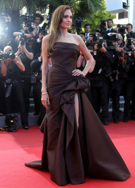 Angelina Jolie in a Versace dress at 2011 Cannes Film Festival